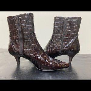 Bandolino Faux Alligator Skin Zip Up Ankle Boots